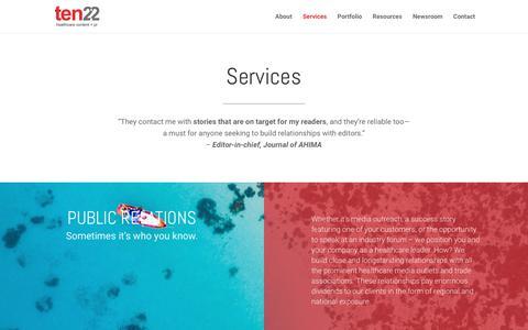 Screenshot of Services Page ten22pr.com - Services - Agency Ten22 - captured Oct. 7, 2017