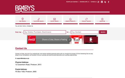 Screenshot of Contact Page brabys.com - Contact Us - captured Jan. 13, 2016
