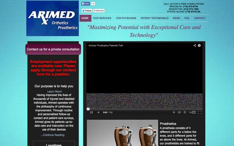 Screenshot of Home Page arimed.com - Arimed - Best Prosthetics in NYC - captured Oct. 4, 2014
