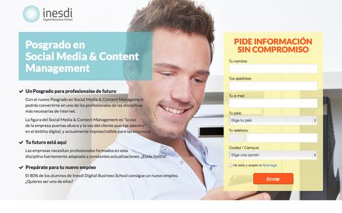 Screenshot of Landing Page inesdi.com - INESDI, Digital Business School | Posgrado en Social Media & Content Management - captured Oct. 27, 2014