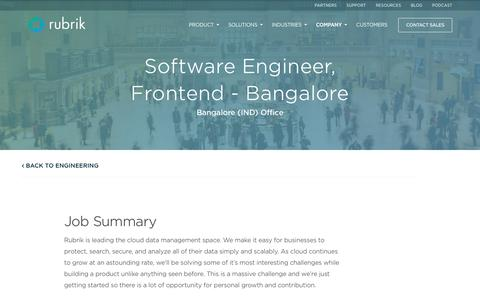 Screenshot of Jobs Page rubrik.com - Rubrik is looking for a Software Engineer, Frontend - Bangalore - captured Jan. 17, 2019