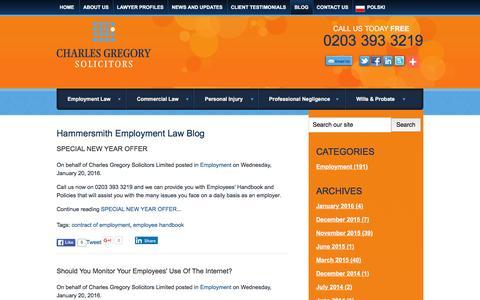 Screenshot of Blog cgslaw.co.uk - Hammersmith Employment Law Blog | Charles Gregory Solicitors Limited - captured Jan. 27, 2016