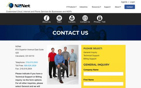 Screenshot of Contact Page n2net.net - Contact Us | Company - captured Nov. 18, 2018
