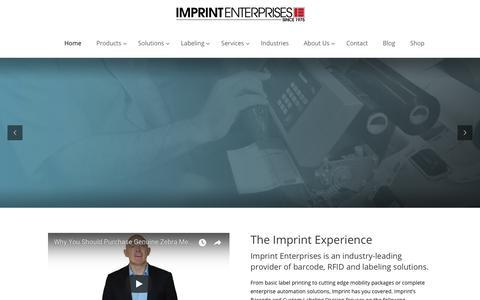 Screenshot of Home Page imprint-e.com - Barcode, RFID and Labeling Solutions - Imprint Enterprises - captured Feb. 11, 2018