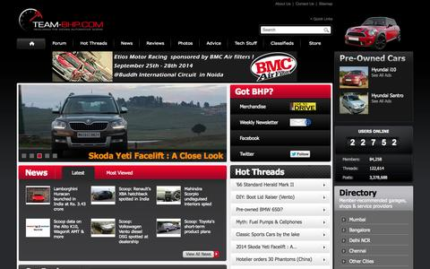Screenshot of Home Page team-bhp.com - Home | Team-BHP - The Definitive Indian Car Website - captured Sept. 18, 2014