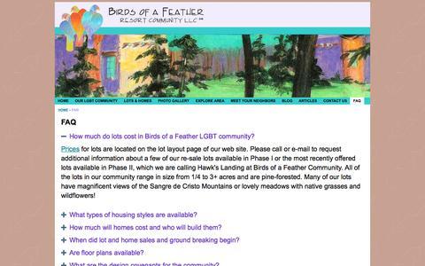 Screenshot of FAQ Page birdsofafeather.com - Birds of a Feather - FAQ - captured Feb. 7, 2016