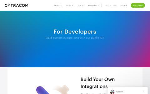 Screenshot of Developers Page cytracom.com - Cytracom says… - captured May 27, 2019