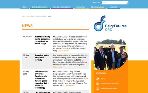 Screenshot of Press Page dairyfuturescrc.com.au - News - Dairy Futures CRC - captured Sept. 30, 2014