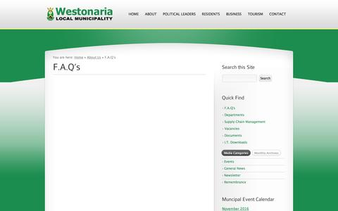 Screenshot of FAQ Page westonaria.gov.za - F.A.Q's «  Westonaria Local Municipality - captured Nov. 29, 2016