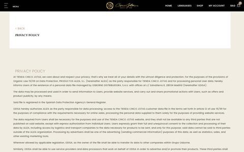 Screenshot of Privacy Page cincojotas.com - Privacy Policy - captured July 31, 2017