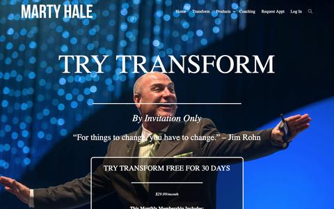 Screenshot of Trial Page martyhale.com - Try Transform - Marty Hale - captured Oct. 13, 2018