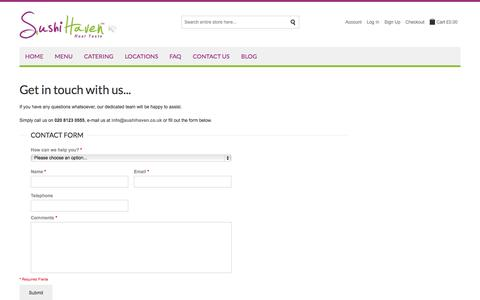 Screenshot of Contact Page sushihaven.co.uk - Sushi Haven |  Contact Us - captured Sept. 30, 2014