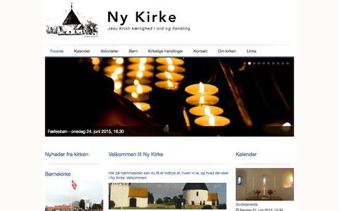 Screenshot of Home Page ny-kirke.dk - Velkommen til Ny Kirke | Ny Kirke - captured June 20, 2015