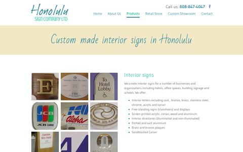 Screenshot of Products Page honolulusign.com - Interior Signs | Honolulu, HI | Honolulu Sign Company LTD - captured June 25, 2016