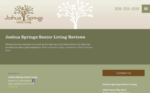 Screenshot of Testimonials Page milestoneretirement.com - Senior Living Resources | Joshua Springs Senior Living - captured Jan. 25, 2017