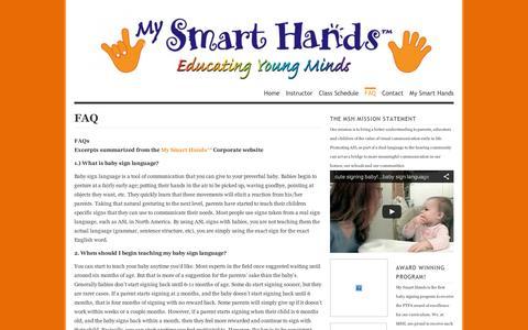 Screenshot of FAQ Page wordpress.com - FAQ | My Smart Hands with Kathryn - captured Sept. 12, 2014