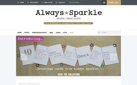 Screenshot of Home Page alwayssparkle.co.uk - Always Sparkle - captured Sept. 30, 2014