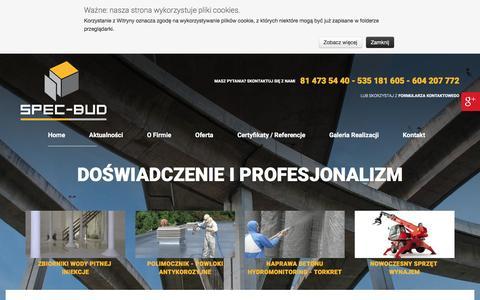 Screenshot of Home Page spec-bud.com.pl - Osuszanie i izolacja wodochronna budynków: Lublin | SPEC-BUD - captured May 28, 2016