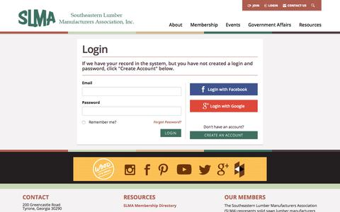 Screenshot of Login Page slma.org - Login -  Southeastern Lumber Manufacturer's Association, Inc. - captured Jan. 20, 2018