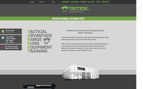 Screenshot of Home Page About Page Contact Page tacticaladvantagemn.com - Tactical Advantage - captured Oct. 9, 2014