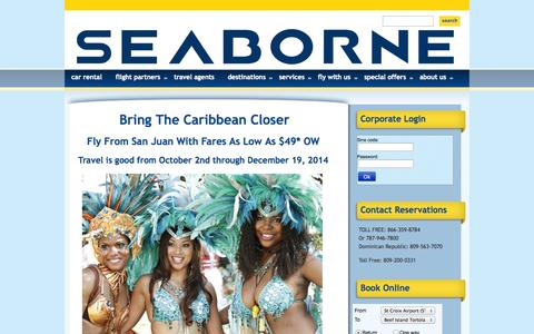 Screenshot of Home Page seaborneairlines.com - Careers | Seaborne Airlines : Flights to San Juan, Vieques, St. Thomas and St. Croix - captured Sept. 30, 2014