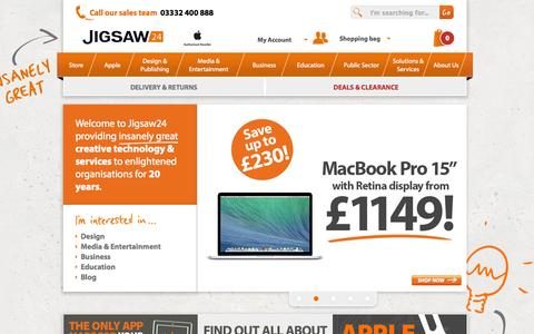 Screenshot of Home Page jigsaw24.com - IT Solutions | Apple Authorised Reseller  | Jigsaw24 - captured Sept. 16, 2014