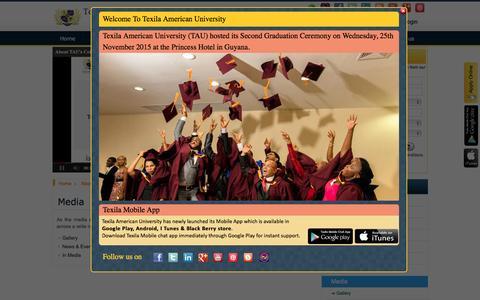 Screenshot of Press Page tauedu.org - Texila American University - Media - captured Jan. 19, 2016