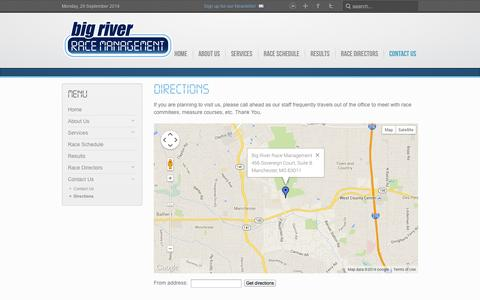 Screenshot of Maps & Directions Page bigriverracemanagement.com - Big River Race Management - Directions - captured Sept. 30, 2014