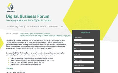 Screenshot of Landing Page forgerock.com - Digital Business Forum - captured Feb. 10, 2017