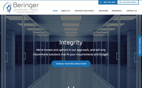 Screenshot of Home Page beringer.net - Business IT Solutions, Office 365, Dynamics 365, IT Support - Cherry Hill, Mount Laurel, Pennsauken | Beringer Technology Group - captured Oct. 10, 2017
