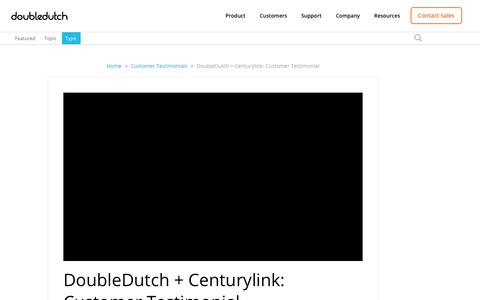 Screenshot of Testimonials Page doubledutch.me - DoubleDutch + Centurylink: Customer Testimonial - captured April 12, 2018