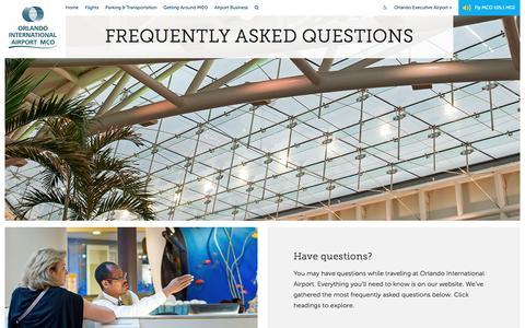 Screenshot of FAQ Page orlandoairports.net - Frequently Asked Questions - Orlando International Aiport (MCO) - captured Nov. 13, 2016