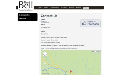 Screenshot of Contact Page thebellcountrypub.co.uk - Contact Us | The Bell - captured Oct. 6, 2014