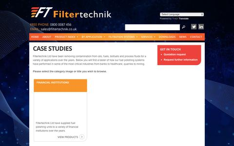 Screenshot of Case Studies Page filtertechnik.co.uk - Case Studies - captured Aug. 13, 2018