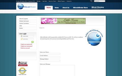 Screenshot of Contact Page mikvahminder.com - mikvahminder-staff | contact-us - More than a Mikvah Calendar - captured Oct. 27, 2014