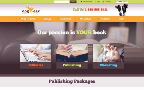Screenshot of Home Page dogearpublishing.net - Dog Ear Self Publishing Company - Make & Publish Your Own Books - captured Aug. 2, 2016