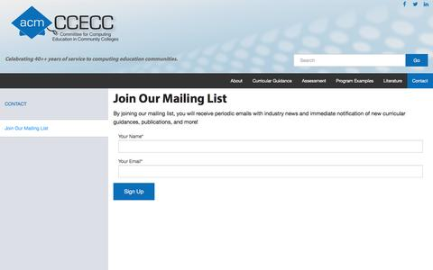 Screenshot of Signup Page acm.org - Join Our Mailing List - ACM CCECC - captured Nov. 19, 2016