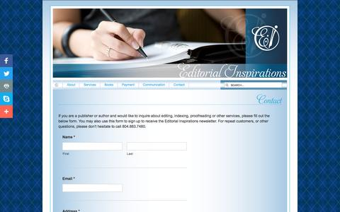 Screenshot of Contact Page editorialinspirations.com - Contact «  Editorial Inspirations: Editing, Indexing, Proofreading - captured May 15, 2017