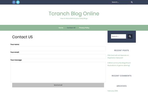 Screenshot of Contact Page tcranch.net - Contact US – Tcranch Blog Online - captured Oct. 30, 2018