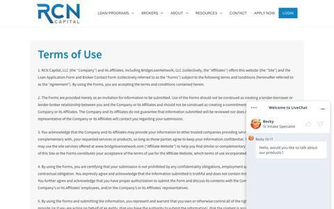 Screenshot of Terms Page rcncapital.com - Terms of Use - RCN Capital - captured Dec. 4, 2019