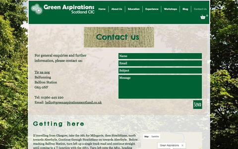 Screenshot of Contact Page greenaspirationsscotland.co.uk - Green Aspirations Scotland | Contact us - captured May 24, 2017