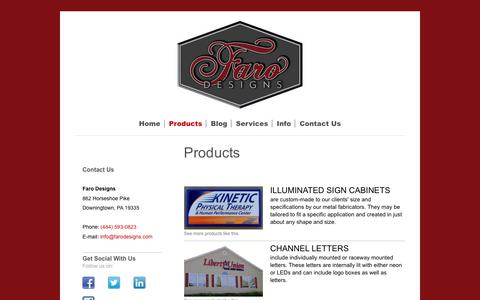 Screenshot of Products Page farodesigns.com - Professional Signage and Graphics by Faro Designs - captured May 21, 2016