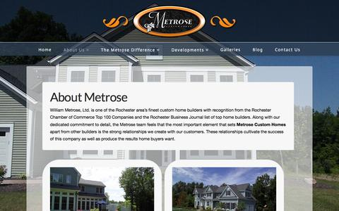 Screenshot of About Page metrosehomes.com - Metrose Custom Homes - captured Feb. 13, 2016