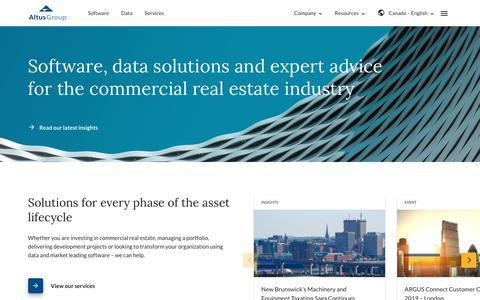 Screenshot of Services Page altusgroup.com - Altus Group - Real estate software, data and advice - captured Sept. 23, 2019