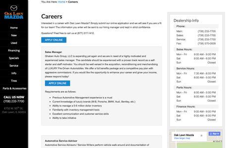 Screenshot of Jobs Page oaklawnmazda.com - Mazda Dealership Automotive Jobs Oak Lawn | Oak Lawn Mazda - captured Aug. 4, 2015