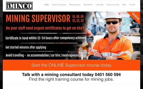 Screenshot of Home Page iminco.net - Mining Information Training - iMINCO Mining Training Information - captured Sept. 20, 2018