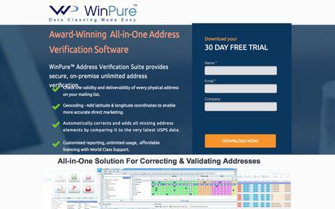 Screenshot of Landing Page winpure.com - Address Verification Software - captured July 2, 2017