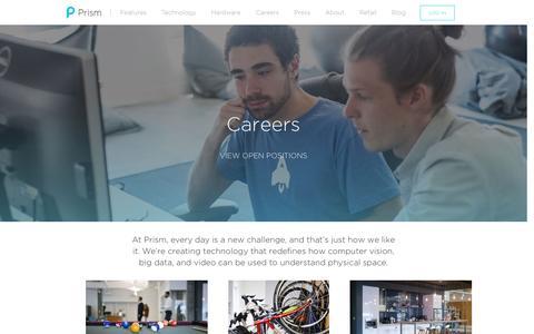 Screenshot of Jobs Page prism.com - Careers - Prism Skylabs - captured Jan. 31, 2016