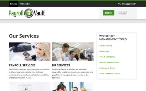 Screenshot of Services Page payrollvault.com - Outsourced Payroll & HR Services for Business | Payroll Vault - captured July 16, 2018