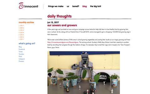 Screenshot of Blog innocentdrinks.ie - innocent – 100% pure fruit smoothies, orange juice, kids smoothies and tasty veg pots - captured Jan. 15, 2018